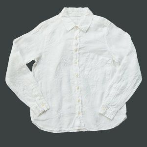 CP SHADES Linen Embroidered Floral Button Down Top